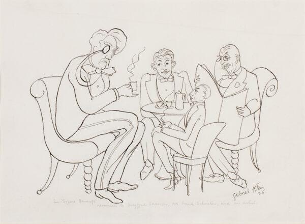 ATKIN Gabriel (1897-1937) - 'Sir Squire Bancroft reminisces to Siegfried Sassoon, Mr Frank Schuster, and an artist.