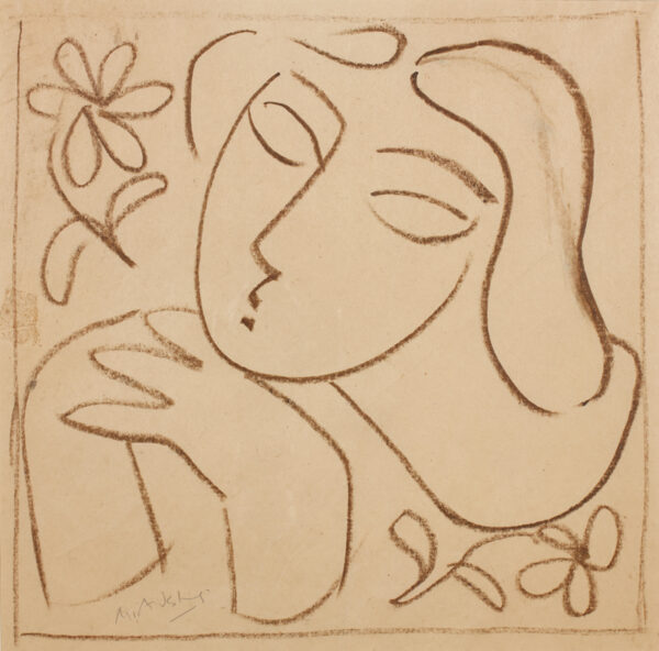 AUDSLEY Mary (1919-2008) - Head of a girl, with flowers.