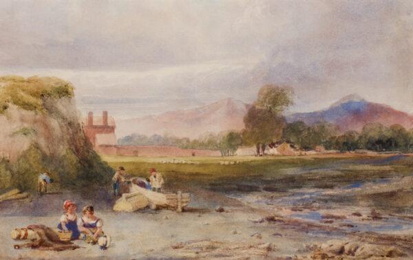 AUSTIN Samuel O.W.S. (1796-1834) - Children on a river's bank.