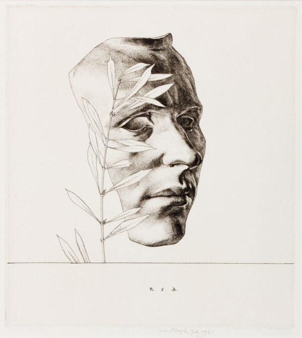 AUSTIN Robert Sargent R.A. R.E. R.W.S. (1895-1973) - 'Mask: Self portrait' (CD101) Engraving.