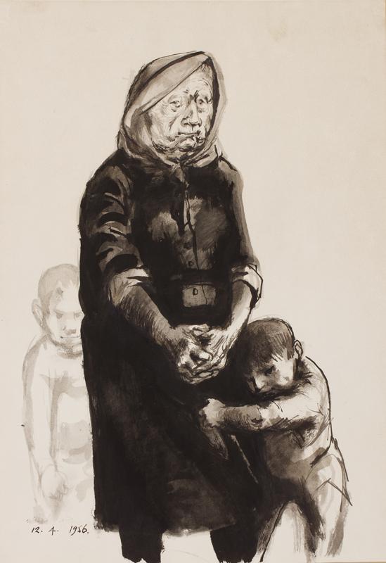 AYRTON Michael (1921-1975) -  Woman and children.