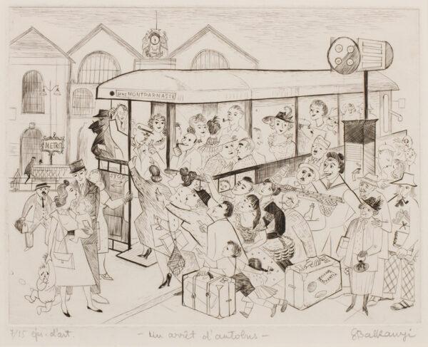 BALKANYI Suzanne (1922-2005) - 'Un arret d'autobus'.