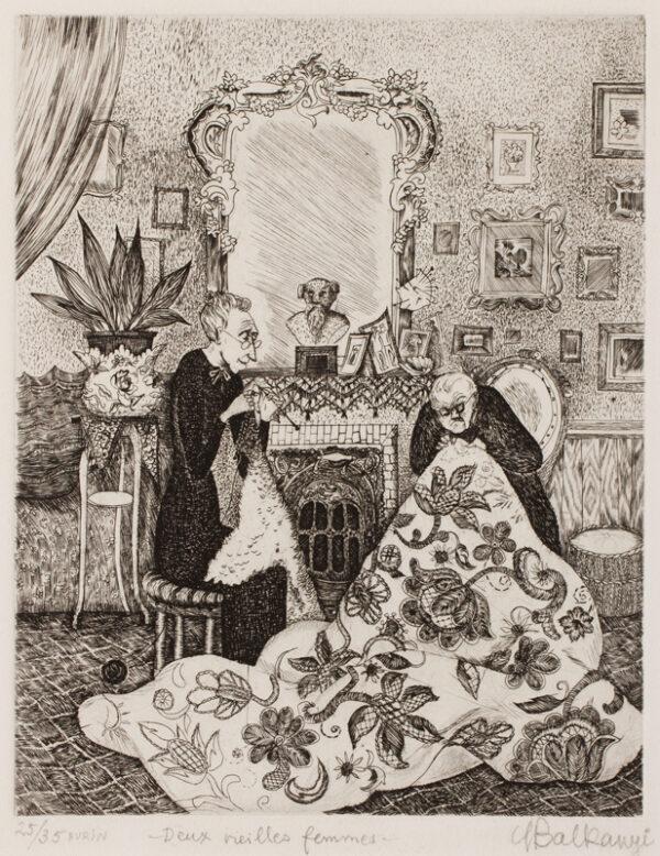 BALKANYI Suzanne (1922-2005) - 'Deux vieilles femmes'.