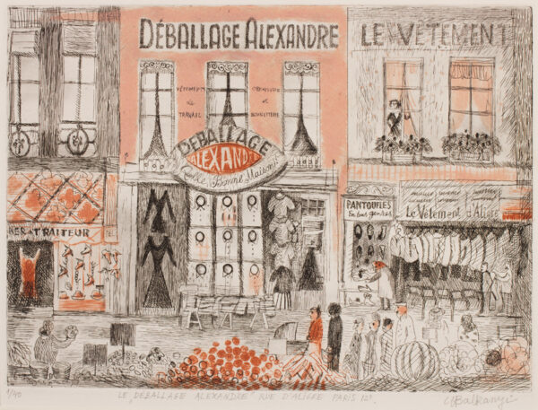 BALKANYI Suzanne (1922-2005) - 'Le Deballage Alexandre' rue d'Aligre, Paris 12E'.