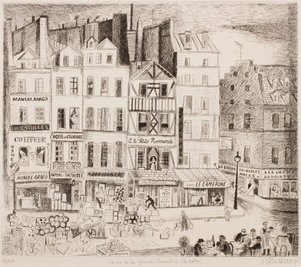 BALKANYI Suzanne (1922-2005) - 'La rue de la Grande-Finanderie ( Les Halles)'.