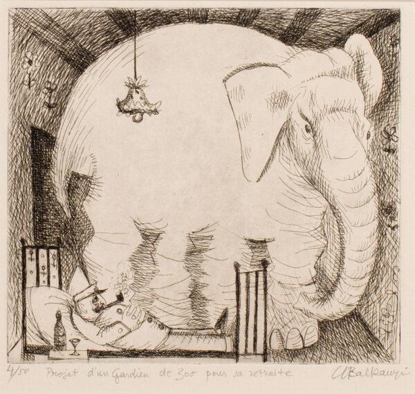 BALKANYI Suzanne (1922-2005) - 'Projet d'un Gardien de Zoo our sa retraite'.