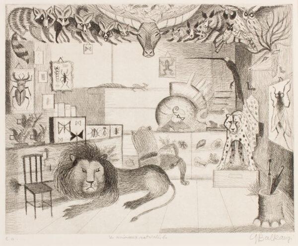BALKANYI Suzanne (1922-2005) - 'Les animaux naturalises'.