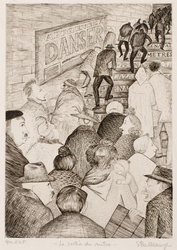 BALKANYI Suzanne (1922-2005) - 'Le Sortie du Metro'.