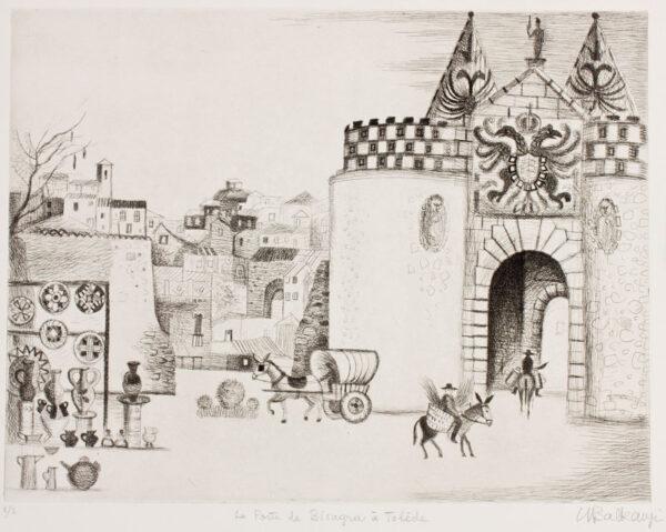 BALKANYI Suzanne (1922-2005) - 'La Porte de Bisagra à Tolède'.