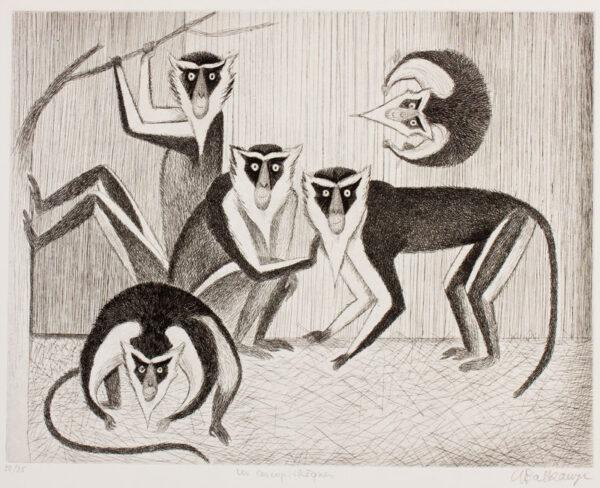 BALKANYI Suzanne (1922-2005) - 'Les Cercopithèques' (Guenon Monkeys).