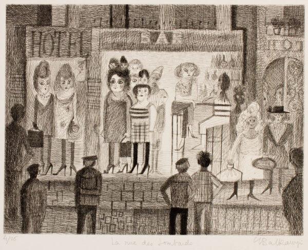 BALKANYI Suzanne (1922-2005) - 'La rue des Lombards'.