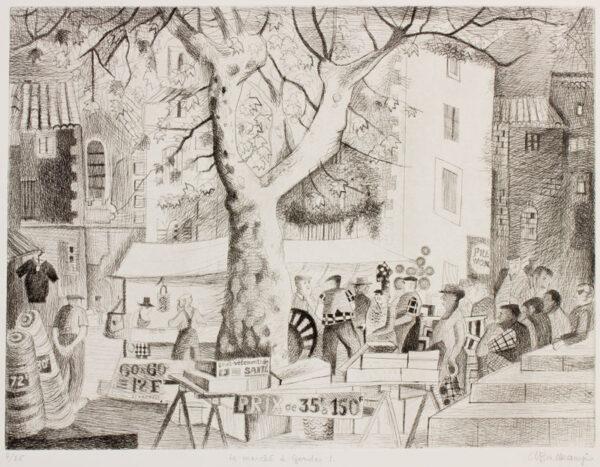 BALKANYI Suzanne (1922-2005) - 'Le marché à Gordes I'.