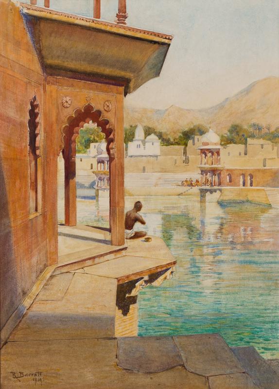 BARRATT Reginald R.W.S. (1861-1917) - 'Bathing tank at Alwar, Rajasthan'.