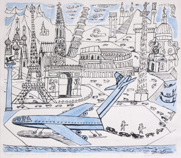 BAWDEN Edward C.B.E. R.A. (1903-1989) - 'Rough sketch for a cover design  of The Listener - Travel Number'.