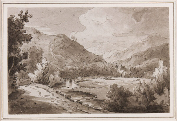 BECKER Ferdinand (Ex. Edmund) (fl.1790-1810) - 'Scene on the Llugwy near Ponty Cyffin, 1811'.
