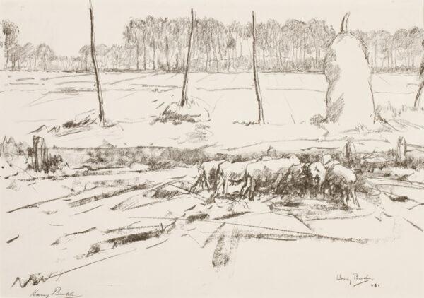 BECKER Harry (1865-1928) - Sheep and hay stacks.