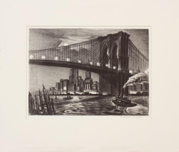 BERGERE Richard (American b.1912) - 'Twilight over Brooklyn Bridge'.
