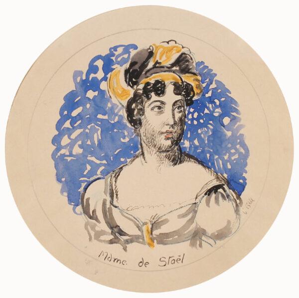 BELL Vanessa L.G. (1879 - 1961) - 'Madame de Stael'; study for Kenneth Clark's Famous Women Dinner Service.