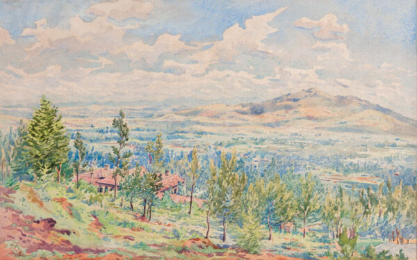 ETHIOPIA (subject) Lady Bentinck (Lucy Buxton b.1893) - Addis Ababa: a view over the British Legation painted by the Resident's wife.