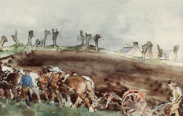 BLAMPIED Edmund R.B.A. R.E. (1886-1966) - 'Ploughing'.