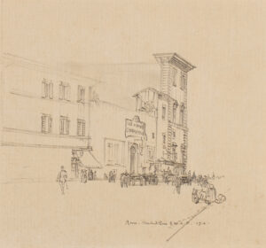 BONE Sir Muirhead (1876-1953) - 'Rome: Lux et Umbra Cinema', one of the city's first in 1907.