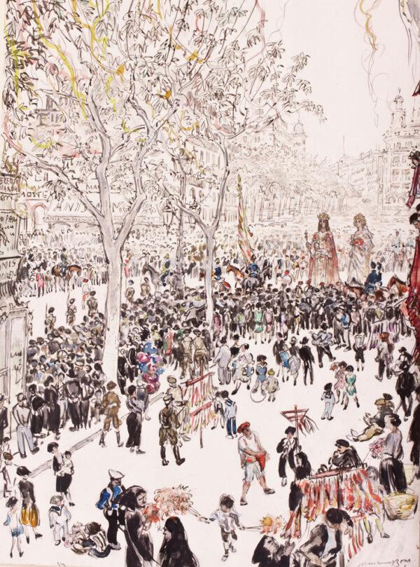 BONE Sir Muirhead N.E.A.C. (1876-1953) - 'The flag of the City and Giants, Corpus Christi Procession, the Ramblas, Barcelona'.