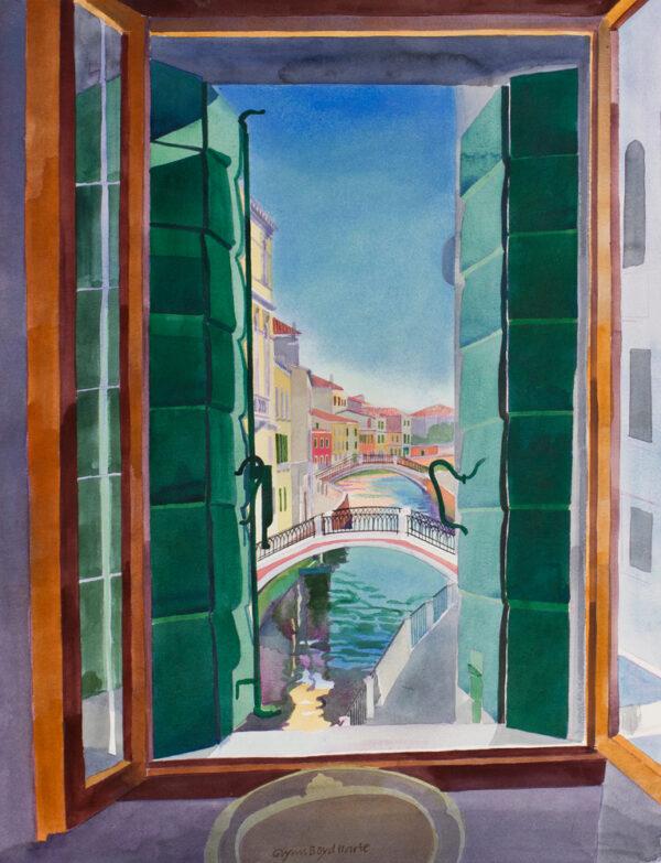 BOYD HARTE Glynn (1948-2003) - 'View from the Accademia': Pensione Accademia Villa Maravege, Venice.