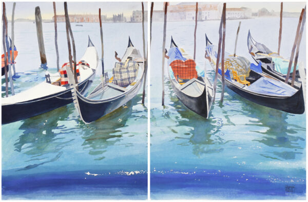 BOYD-HARTE Glynn (1948-2003) - 'Gondole on the Riva', Venice Watercolour and gouache on two pieces of paper.