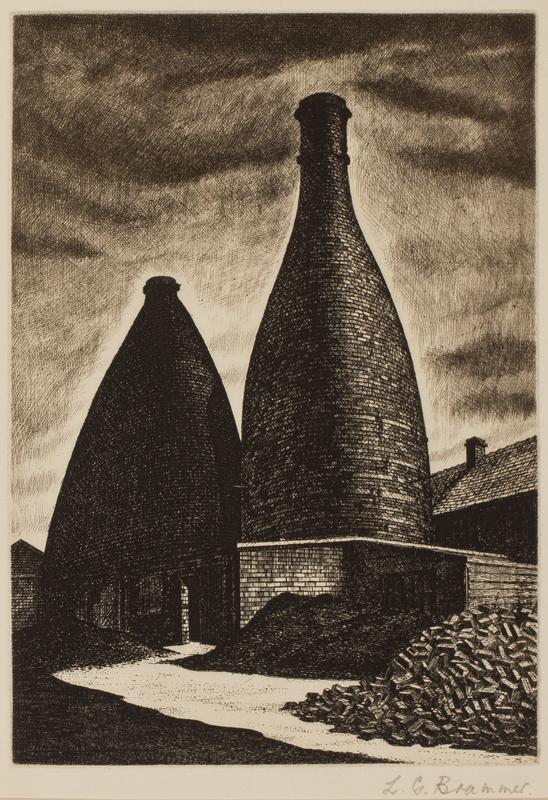 BRAMMER Leonard Griffiths R.E. (1906-1994) - 'Bottle Ovens, Wedgwood'.