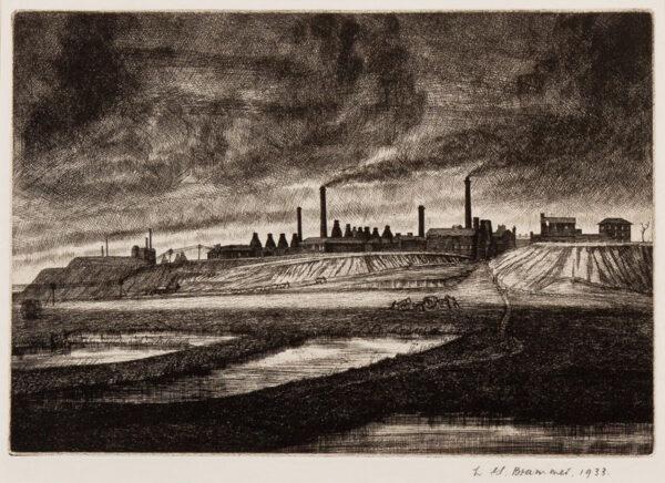BRAMMER Leonard Griffiths R.E. (1906-1994) - 'Factory on the Hill, Burslem'.