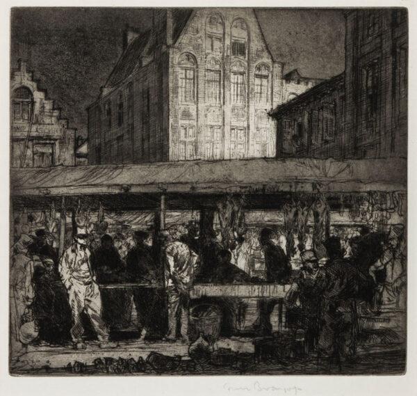 BRANGWYN Sir Frank R.A. R.E. R.W.S. (1867-1956) - 'The Meat Market, Bruges' (G.