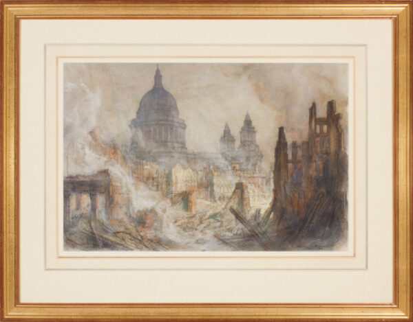 BREWER Henry Charles R.I. (1866-1950) - St Pauls Cathedral after the Blitz of 29th January 1941.