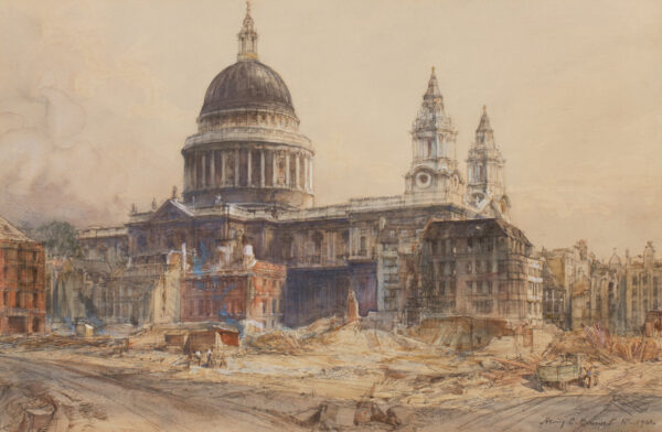 BREWER Henry Charles R.I. (1866-1942) - 'St Paul's from Warwick Lane and the space in front now cleared from the wreckage'.