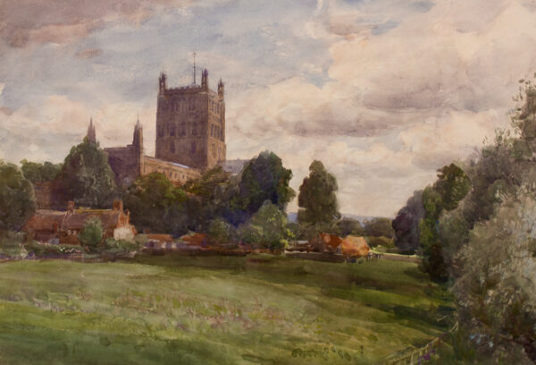 BREWER Henry Charles R.I. (1866-1942) - Gloucestershire: Tewkesbury Abbey from the South-East.