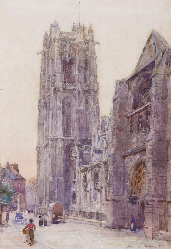BREWER Henry Charles R.I. (1866-1942) - Cathedral at dusk.