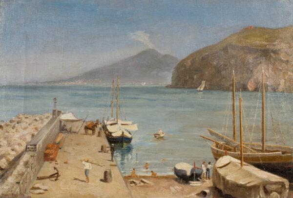 BRICHTA Frank F (fl.188-1898) - 'The Mola at Cassano near Sorrento'.