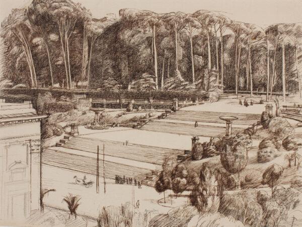 BRILL Reginald (1902-1974) - Rome ; the Borghese Gardens dawn from Lutyen's British School.