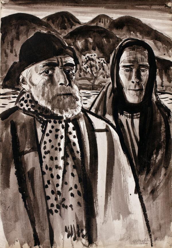 BROCKHURST Gerald Leslie R.A. (1890-1978) - 'Irish Peasants'.