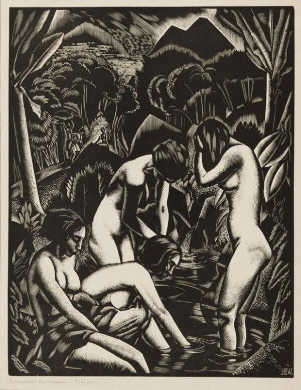 BUCKLAND WRIGHT John (1897-1954) - 'Baigneuses Balinaises' (CBW, L.