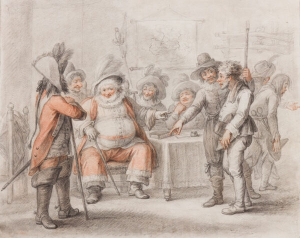 BUNBURY Henry William (1750-1811) - 'Falstaff at Justice Shallow's Mustering his Recruits'.