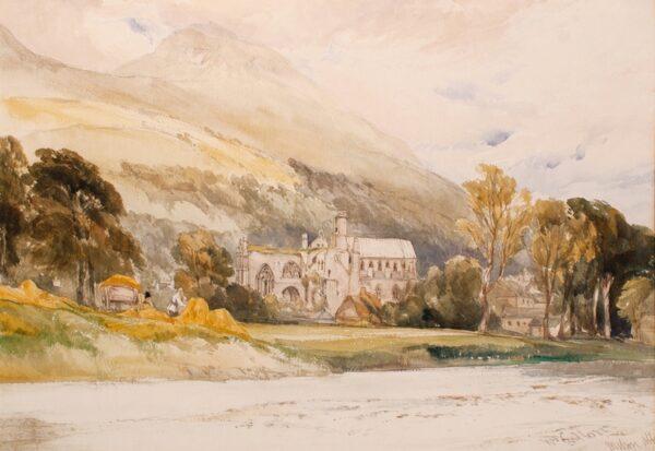 CALLOW William R.W.S. (1812-1908) Scotland. 'Melrose Abbey'. - Pencio and watercolour.