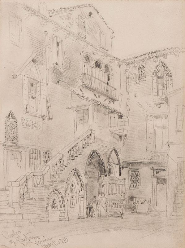CALLOW Willliam O.W.S. (1812-1908) - Venice: 'Campiello San Gaetano'; much as it still is.