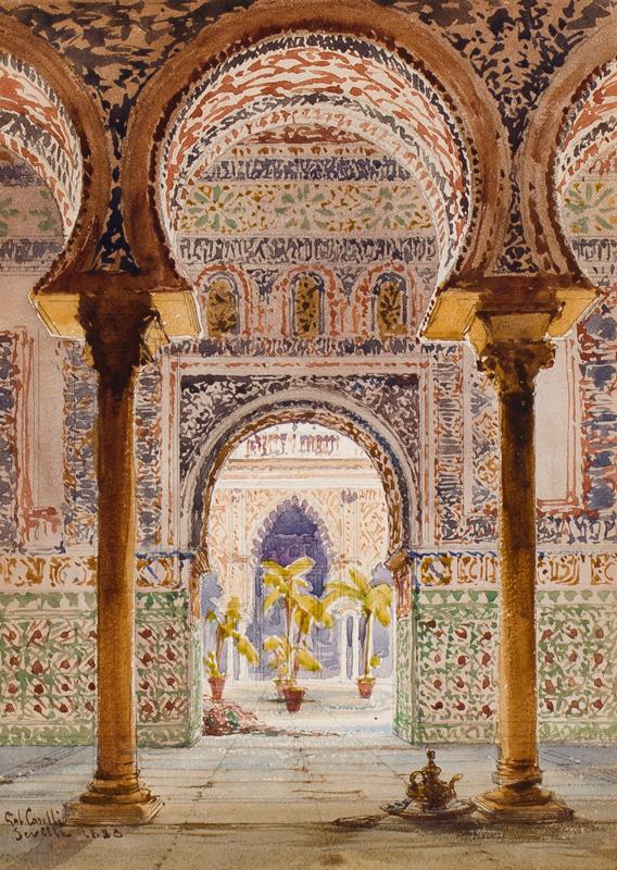 CARELLI Gabrielle (1821-1900) - 'La Casa de Pilotis, Seville'.