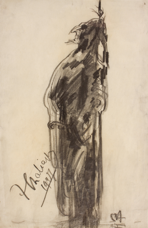CHALIAPIN Feodor (1873-1938) (subject) by ?'JA'. 1927. - Chaliapin as Don Quixote, the role created for him by Massenet in 1910.