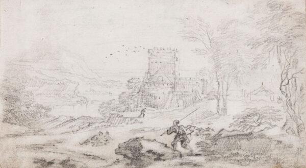 CHATELAIN LE Jean Baptiste (c.1710-c.1758) - Castle and landscape.