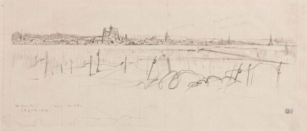 CHEFFER Henri-Lucien (1880-1957) - WWI France; 'St Quentin, 1 ligne, (?cote 38)'.