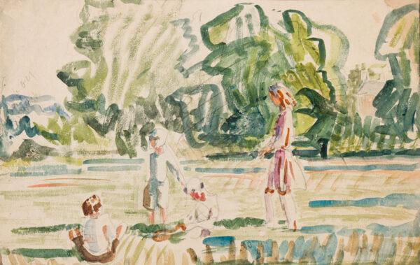 CLARKE HALL Edna (1879-1979) - Children playing the garden, Upminster Common.