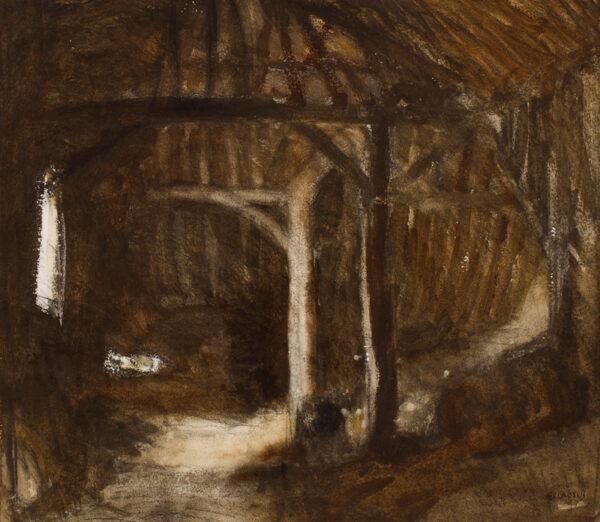 CLAUSEN Sir George R.A. R.W.S. (1852-1944) - Barn interior.