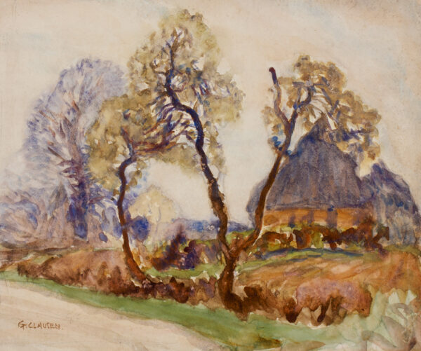 CLAUSEN Sir George R.A. R.W.S. (1852-1944) - Hedge and haystacks.