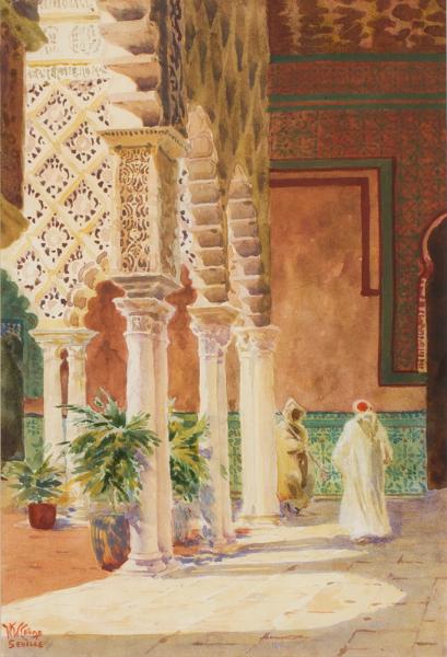 COLLINS William Wiehe R.I. (1862-1951) - Seville, the Moorish colonnade of the Alcazar.